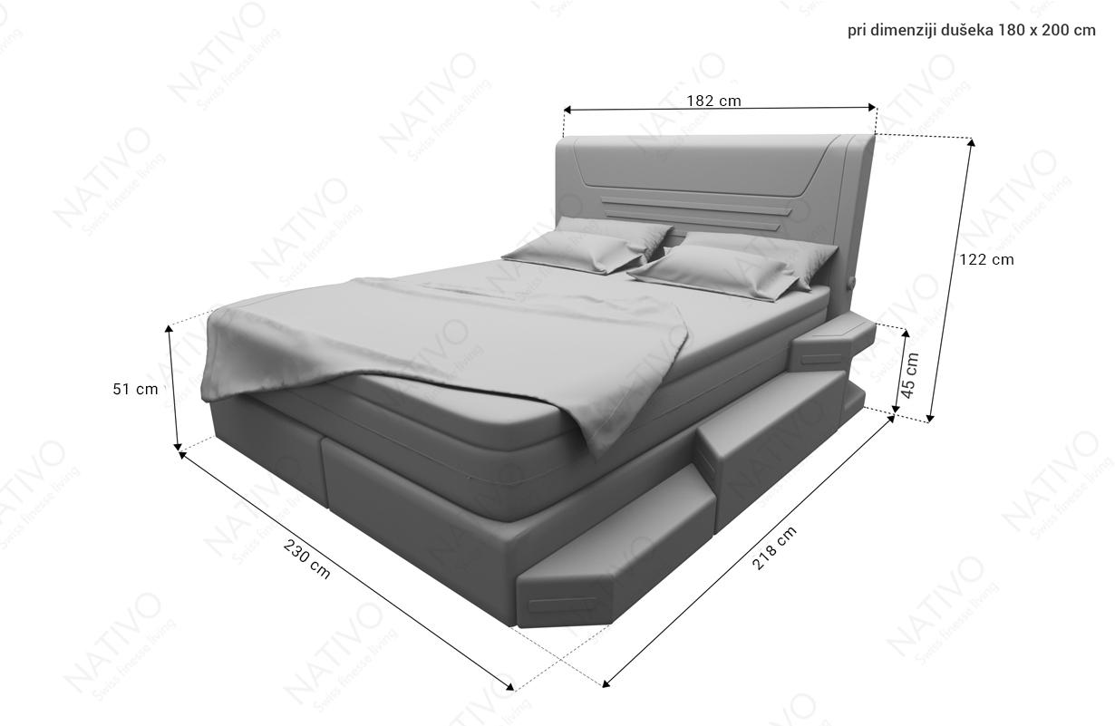 Dimenzije Kožni boxspring NEMESIS sa dušekom i USB priključkom