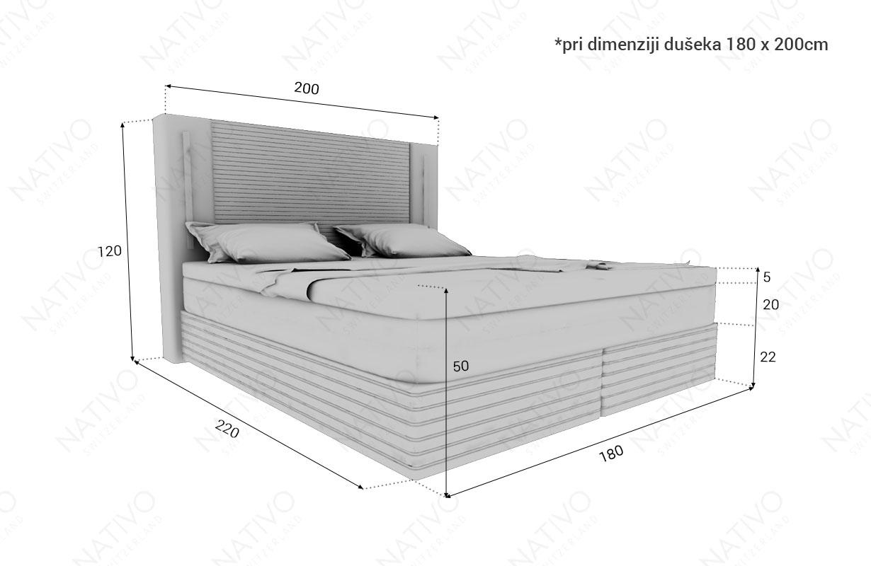 dimenzije boxspring krevet ROMA NATIVO™ nameštaj Beograd Srbija