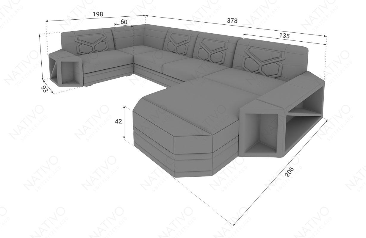 Dizajnerska garnitura AVENTADOR XL sa LED rasvetom NATIVO™ nameštaj Beograd Srbija