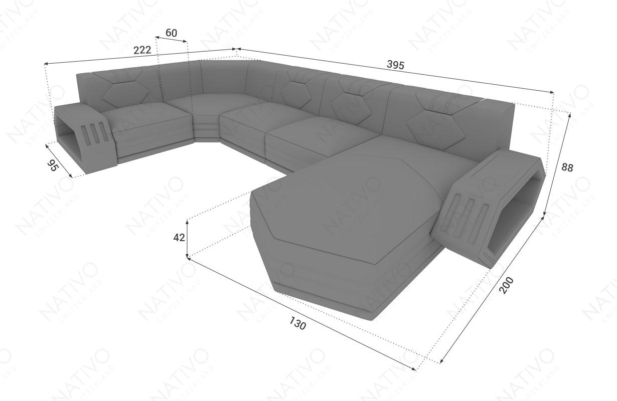 Dizajnerska garnitura CLERMONT XL sa LED rasvetom NATIVO™ nameštaj Beograd Srbija