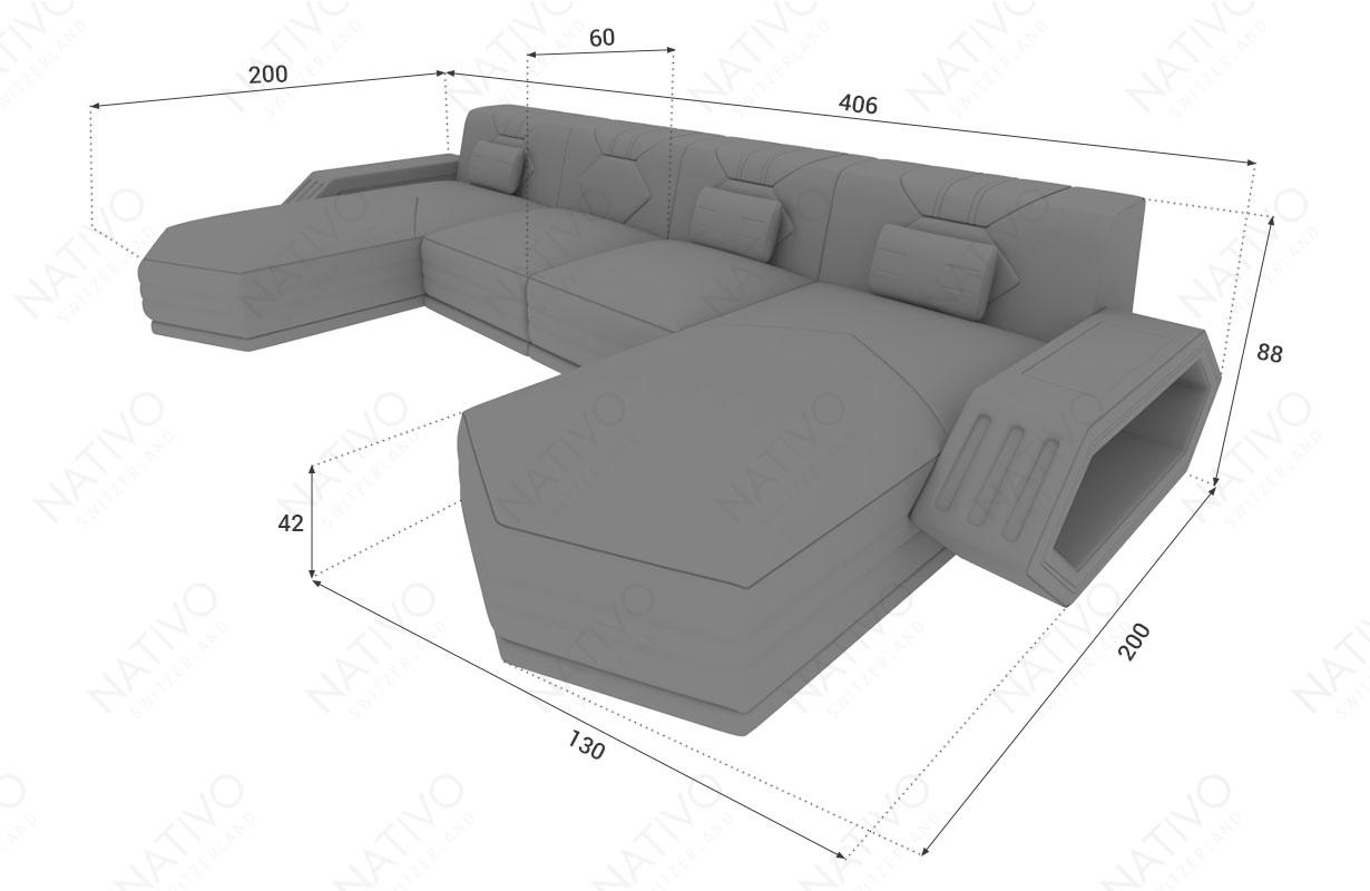 Dizajnerska garnitura CLERMONT XL U sa LED rasvetom NATIVO™ nameštaj Beograd Srbija
