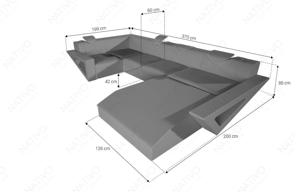 Dimenzije Dizajnerska garnitura FALCO XL sa LED rasvetom i USB priključkom