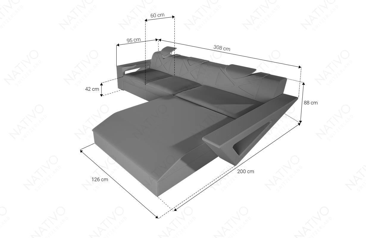 Dimenzije Dizajnerska garnitura - FALCO MINI sa LED rasvetom & USB priključkom