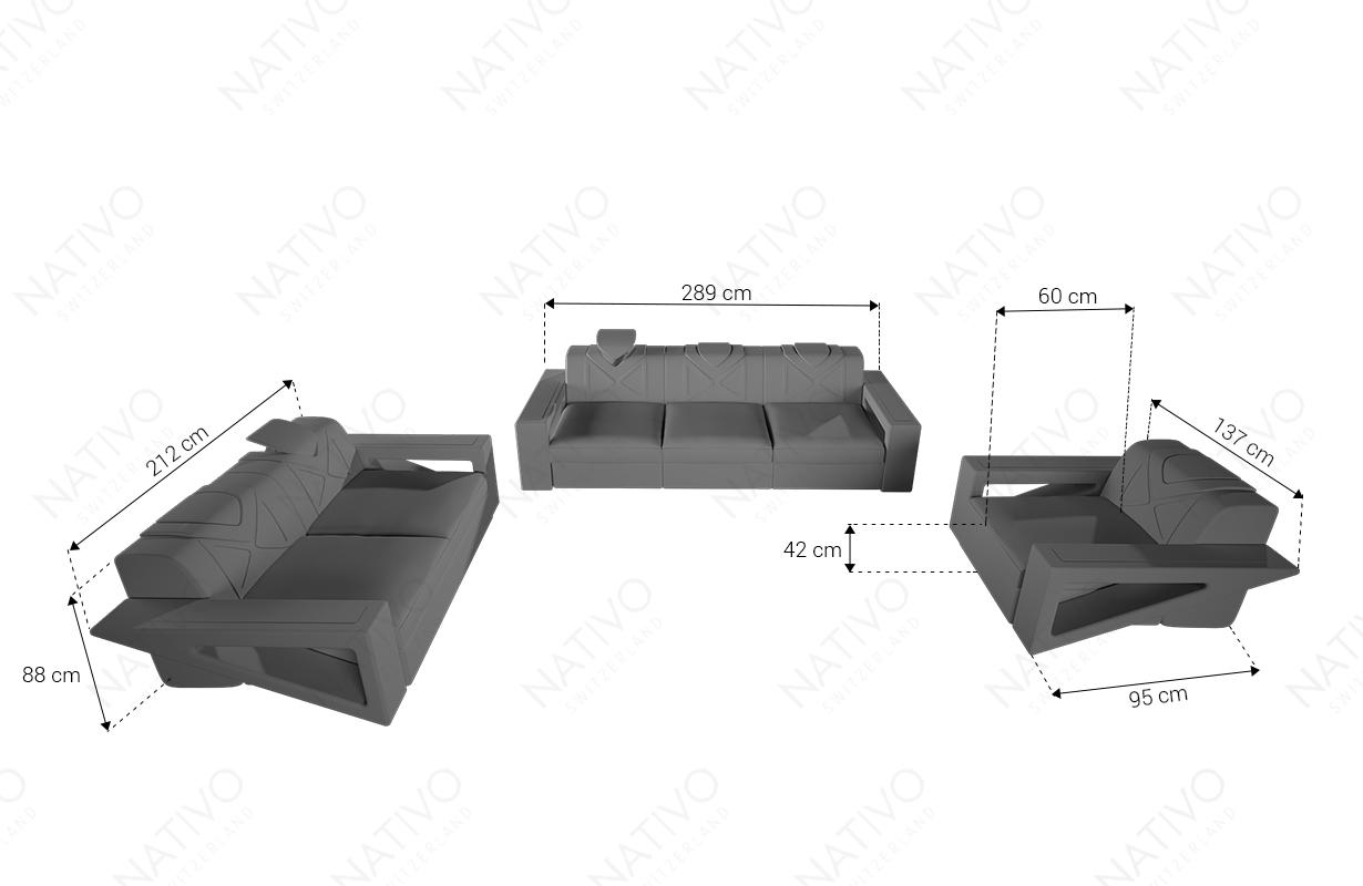 Dimenzije Dizajnerska garnitura FALCO 3+2+1 sa LED rasvetom i USB priključkom