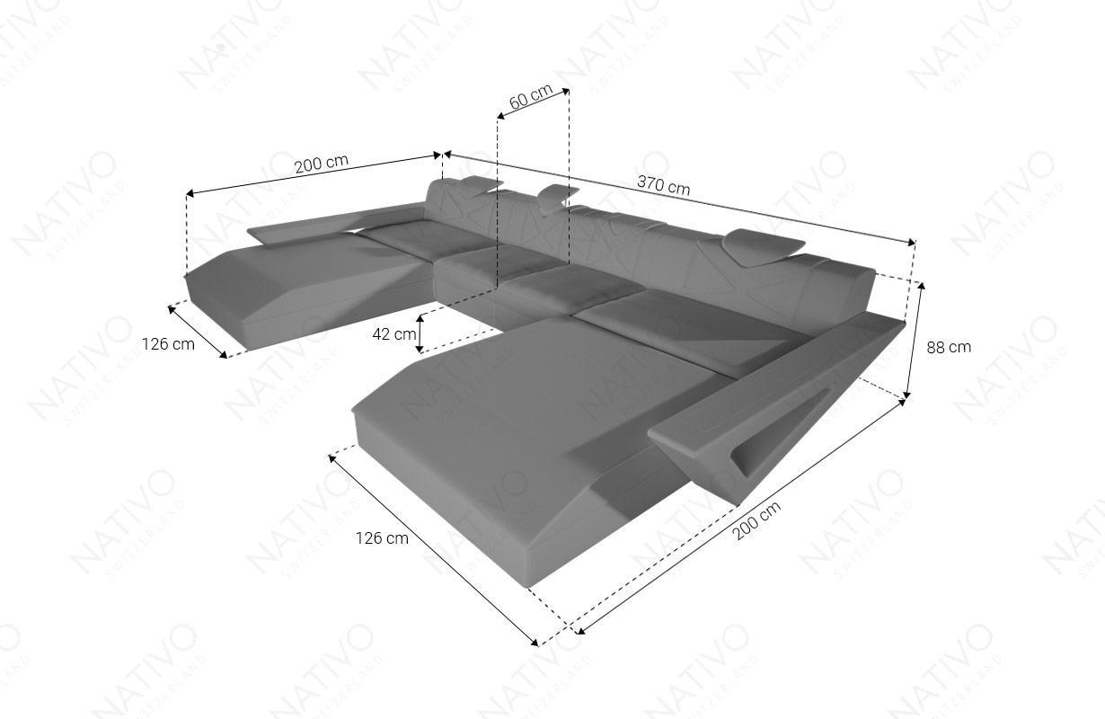 Dimenzije Dizajnerska garnitura FALCO XXL DUO sa LED rasvetom i USB priključkom
