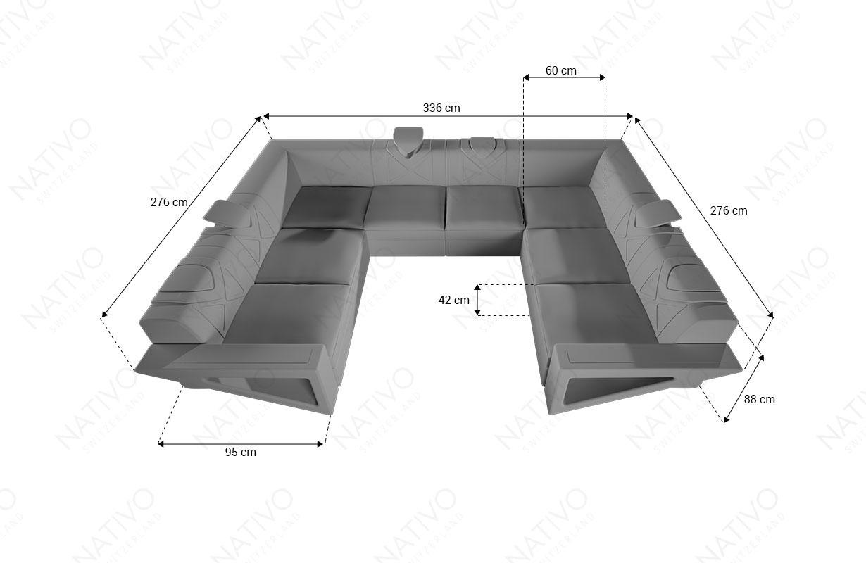 Dimenzije Dizajnerska garnitura FALCO CORNER U FORM sa LED rasvetom i USB priključkom