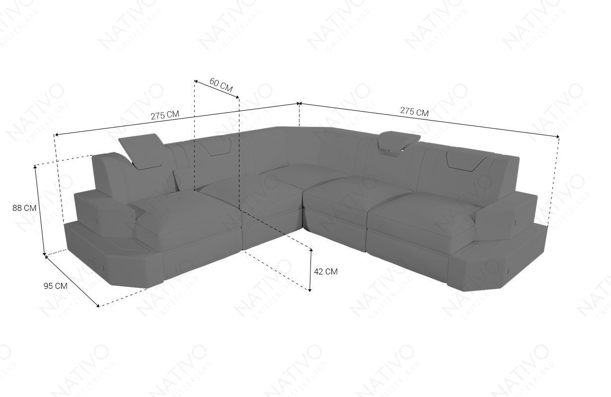 Dimenzije Štof garnitura NEMESIS CORNER sa LED rasvetom i USB priključkom