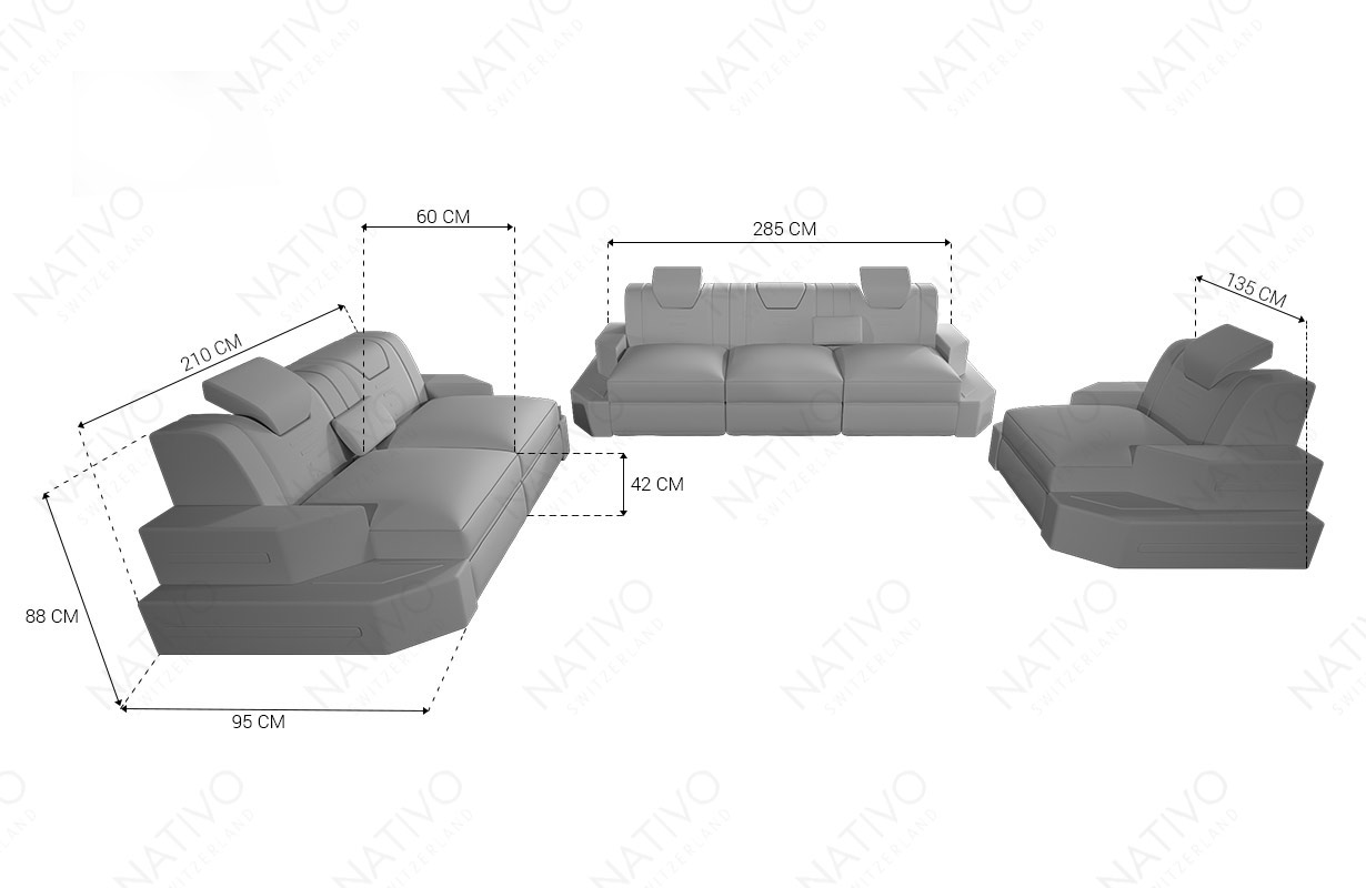 Dimenzije Dizajnerska fotelja NEMESIS sa LED rasvetom i USB priključkom