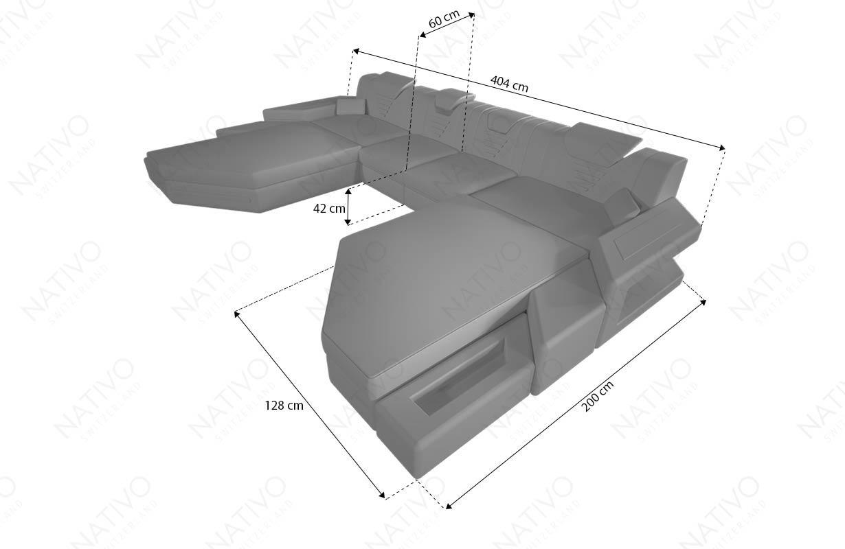 Dimenzije Štof garnitura NEMESIS XXL DUO sa LED rasvetom i USB priključkom