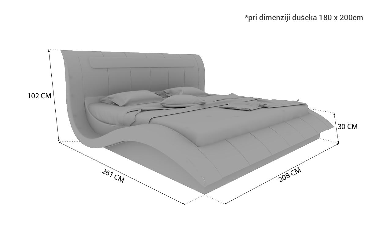 Dimenzije Tapacirani krevet AMSTERDAM sa LED rasvetom i USB priključkom
