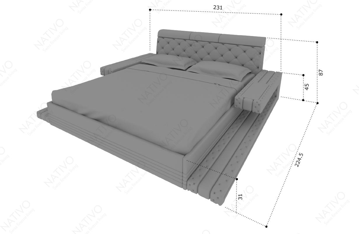 Dizajnerski krevet IMPERIAL sa LED rasvetom i USB priključkom