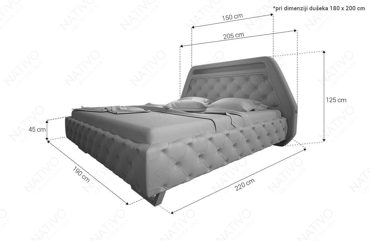 Dimenzije Dizajnerski krevet NEO sa LED rasvetom i USB priključkom