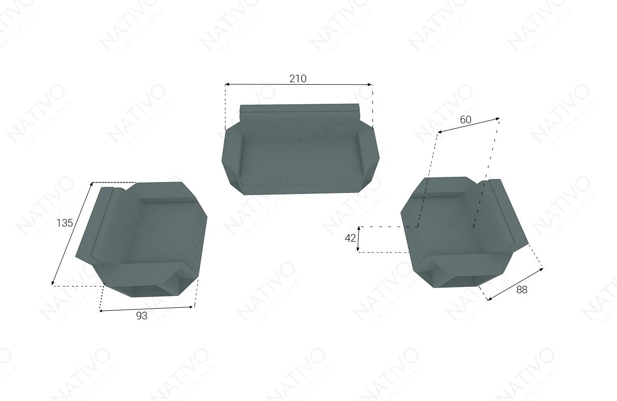 dimenzije ratan garnitura AVENTADOR 221 V2