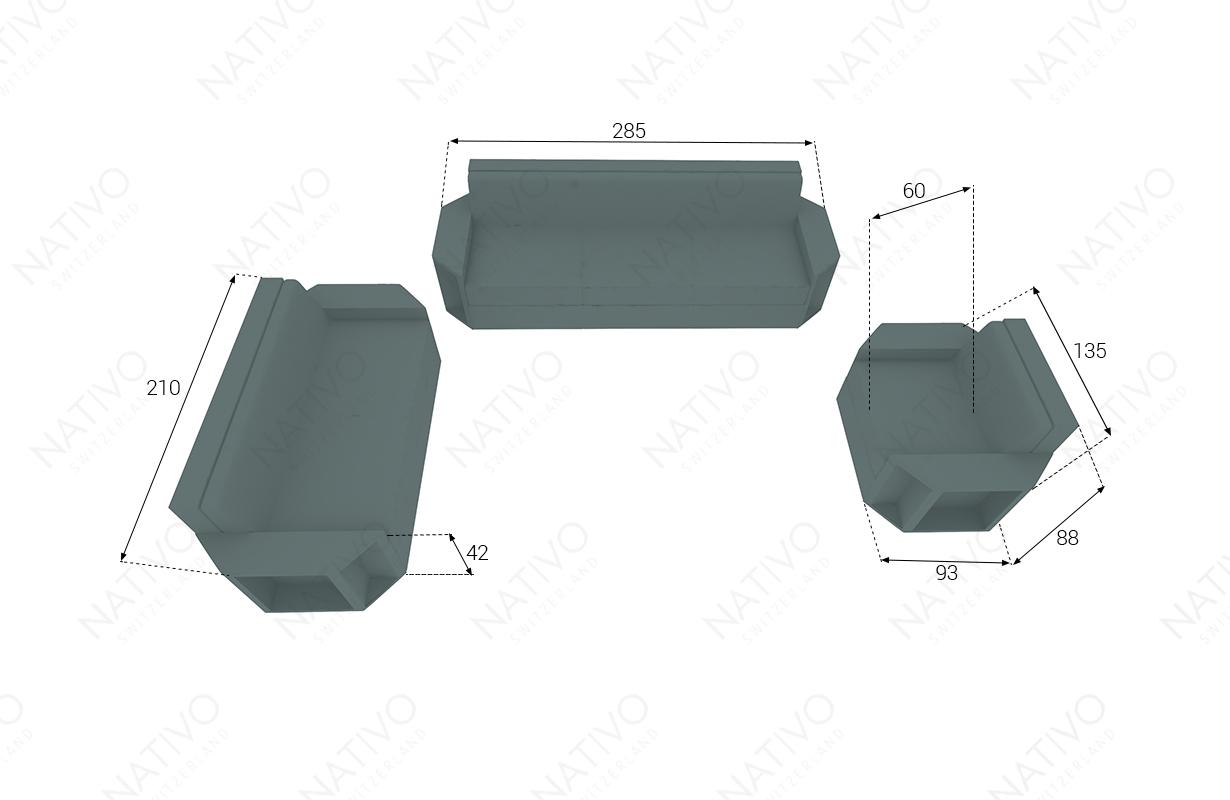 dimenzije ratan fotelja AVENTADOR V1