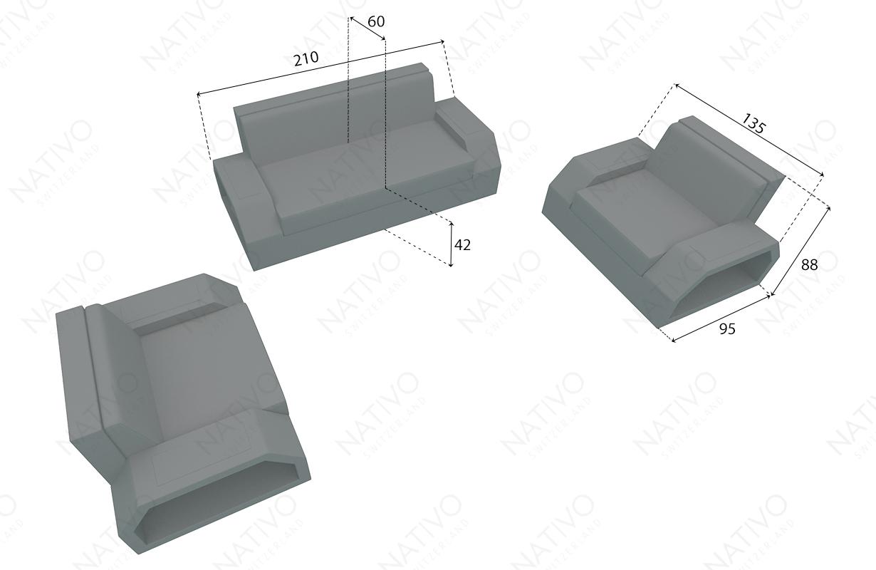 dimenzije ratan garnitura CLERMONT 2+1+1 v2