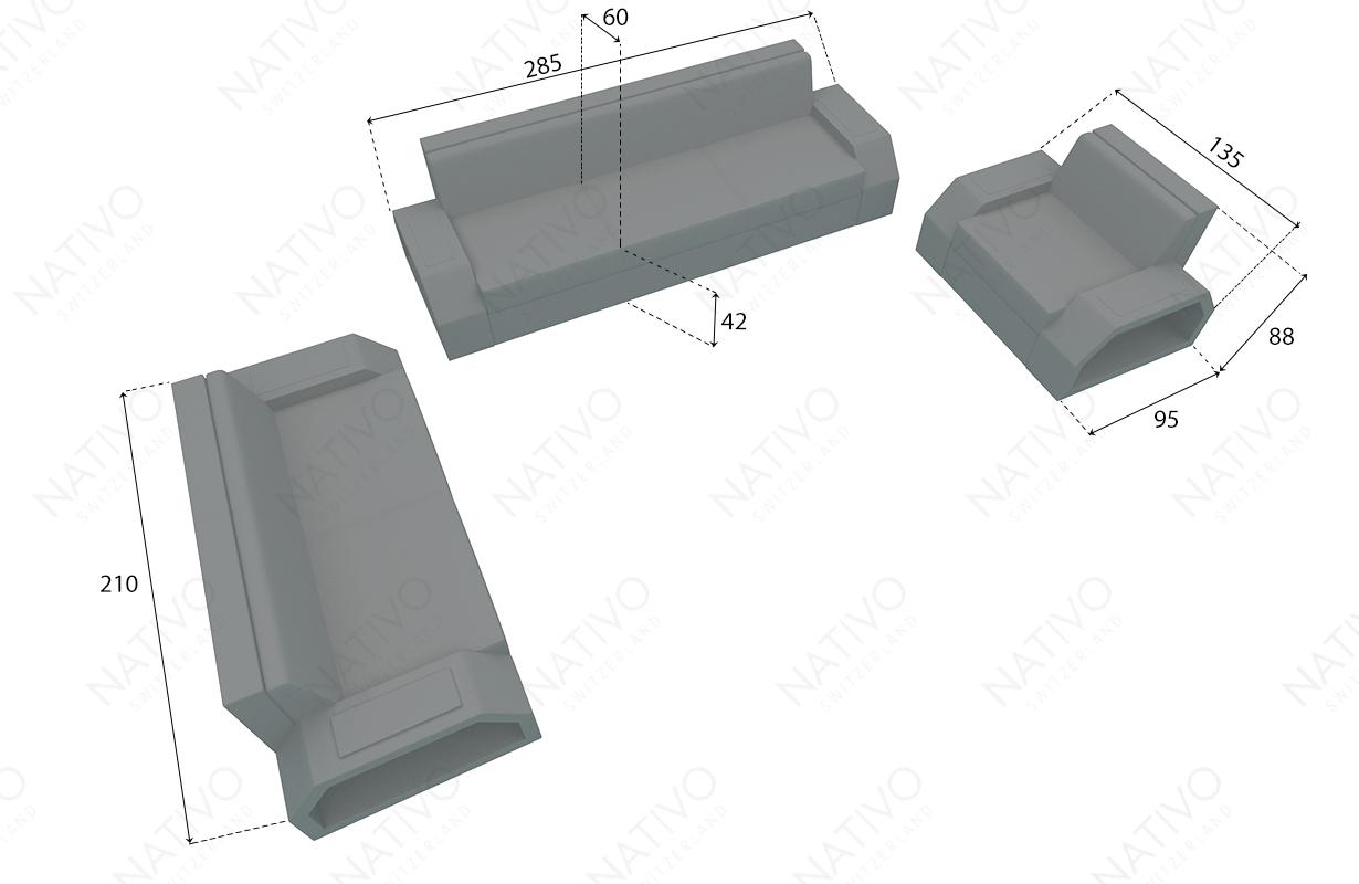 dimenzije ratan garnitura CLERMONT 3+2+1 v2