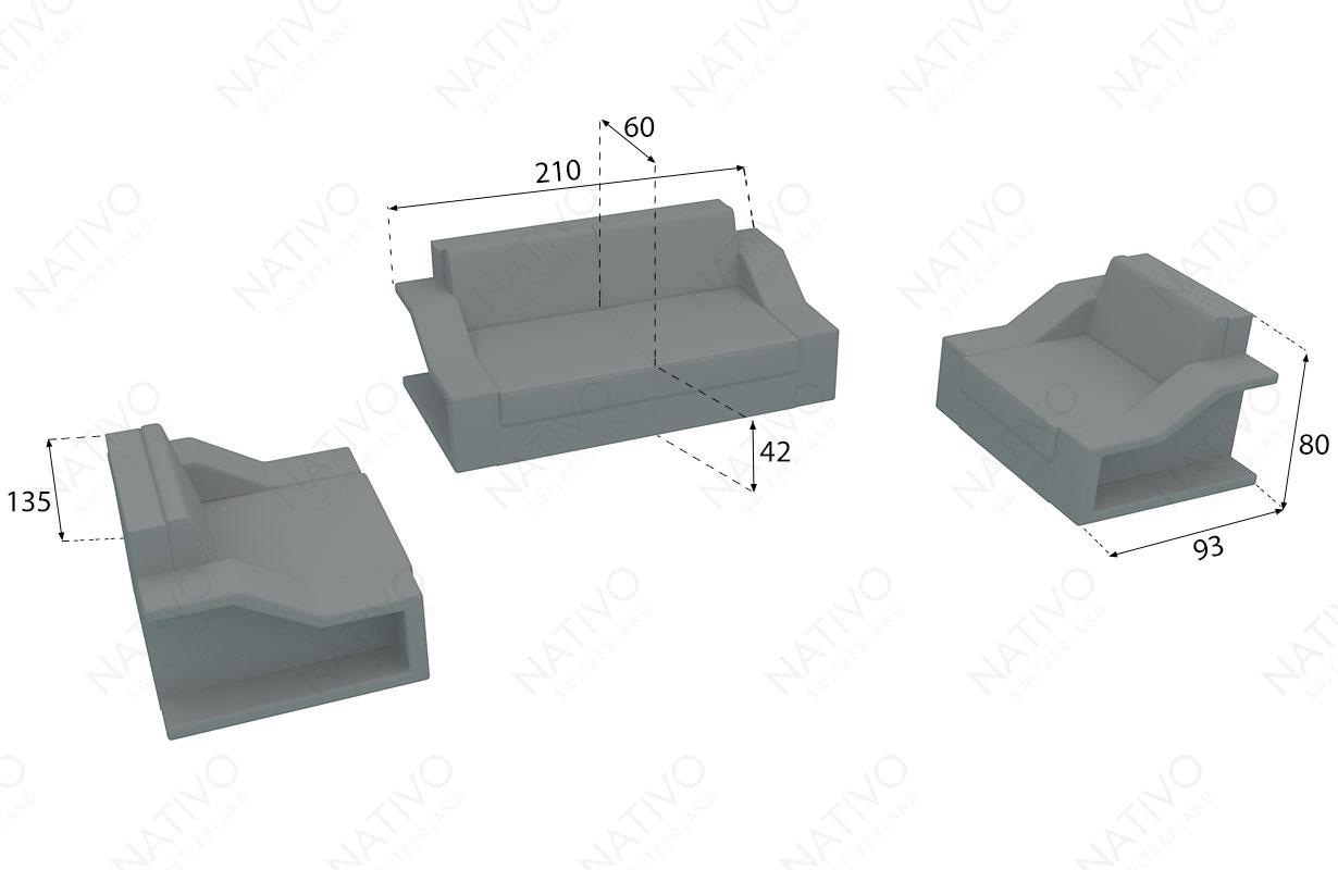 dimenzije ratan garnitura MIRAGE 2+1+1 V2