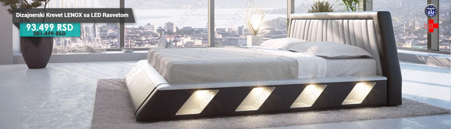 Dizajnerski krevet LENOX sa LED rasvetom NATIVO™ nameštaj Beograd Srbija